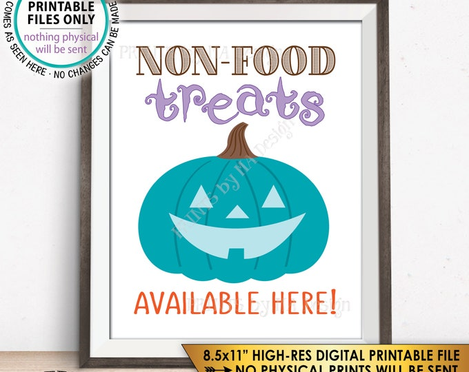 "Teal Pumpkin Sign, Teal Pumpkin Project Allergy Safe Treats, Non-Food Treats Available, Teal Halloween, PRINTABLE 8.5x11"" Instant Download"