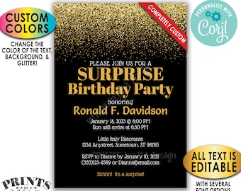 "Custom Glitter Invitation, All Text is Editable, Custom Background and Glitter Color, PRINTABLE 5x7"" Invite <Edit Yourself with Corjl>"