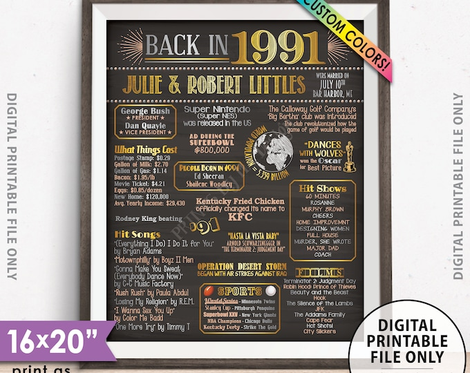 "Back in 1991 Poster, Anniversary Gift, Flashback to 1991 Anniversary Party Decorations, Custom PRINTABLE 16x20"" Sign"