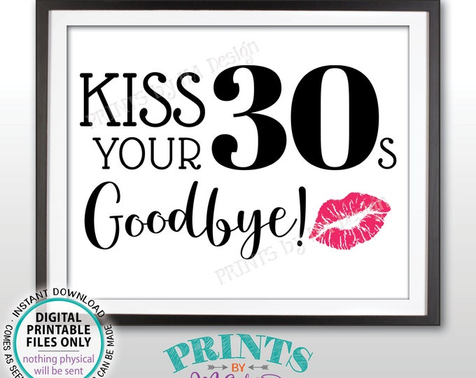 """40th Birthday Sign, Kiss Your 30s Goodbye, Funny 40th Candy Bar SIgn, Fortieth Bday Party Decor, PRINTABLE 8x10/16x20"""" Sign <ID>"""