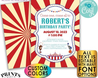 """Carnival Birthday Invitation, Circus or Carnival Invite, Custom Text and Colors, PRINTABLE 5x7"""" Digital Files <Edit Yourself with Corjl>"""