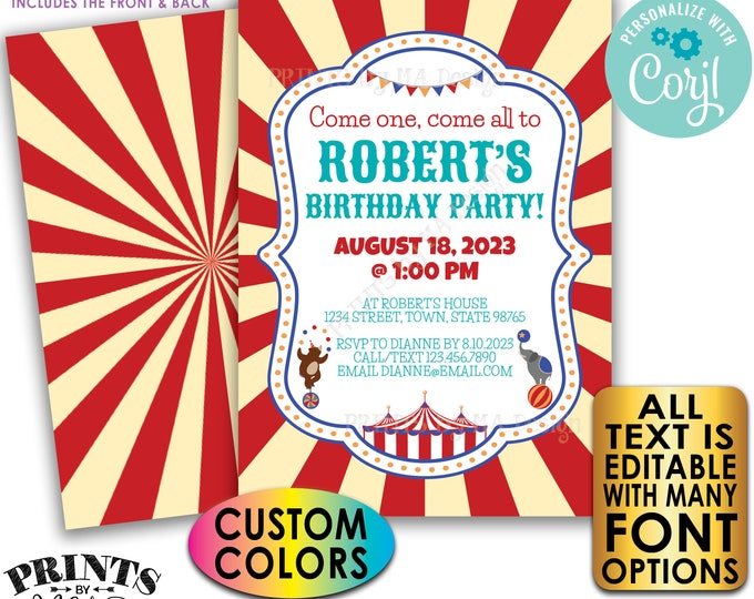 "Carnival Birthday Invitation, Circus or Carnival Invite, Custom Text and Colors, PRINTABLE 5x7"" Digital Files <Edit Yourself with Corjl>"
