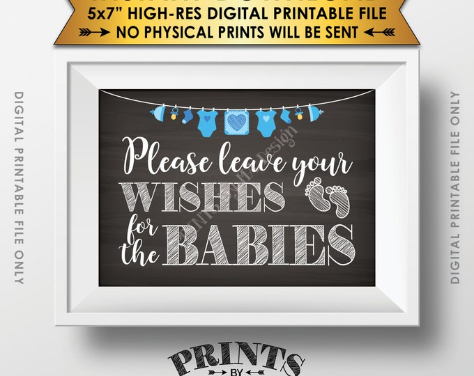 "Wishes for Babies Sign, Wishes for Twins Baby Shower Decor, Write Wishes, Blue Clothesline, Instant Download 5x7"" Chalkboard Style Printable"