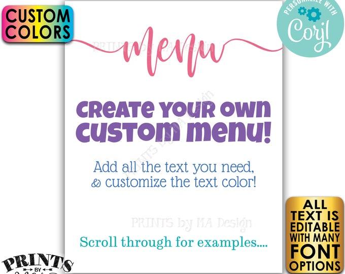 "Editable Menu Sign, Custom Colors, PRINTABLE 8x10/16x20"" Menu, Wedding Menu <Edit Yourself with Corjl>"