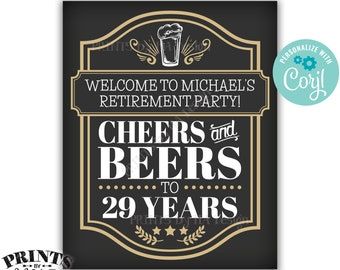 """Cheers and Beers Retirement Party Sign, Cheers to ___ Years, Custom PRINTABLE 8x10/16x20"""" Cheers & Beers Sign <Edit Yourself with Corjl>"""