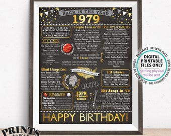 """Back in 1979 Birthday Decorations, 1979 Flashback Poster Board, 1979 B-day Gift, PRINTABLE 16x20"""" 1979 Sign <ID>"""