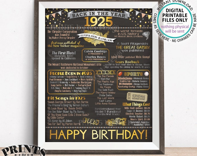 """Born in 1925 Flashback Poster, Back in 1925 Birthday Party Decoration, Flashback to 1925 USA History, PRINTABLE 16x20"""" Sign <ID>"""