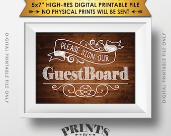 """Please Sign Our Guest Board Wedding Sign the Guest Board, Reception Sign, Brown Wood, Instant Download 5x7"""" Rustic Wood Style Printable Sign"""