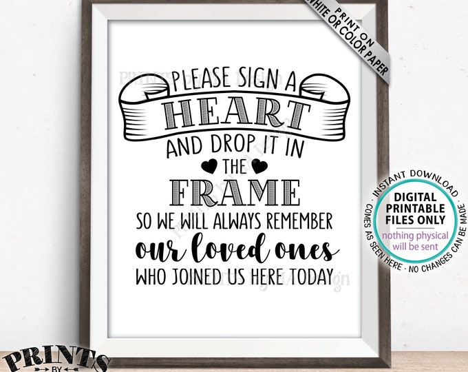 """Sign a Heart Sign Guestbook Hearts Sign Guest Book Alternative, Wooden Hearts, Black Text, PRINTABLE 8x10/16x20"""" Wedding Heart Sign <ID>"""