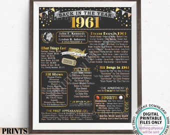 """Back in the Year 1961 Poster Board, Remember 1961 Sign, Flashback to 1961 USA History from 1961, PRINTABLE 16x20"""" Sign <ID>"""