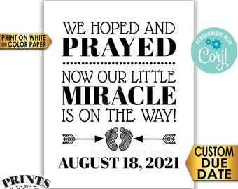 "Pregnancy Announcement, We Hoped and Prayed Little Miracle is on the Way, B&W PRINTABLE 8x10/16x20"" Reveal Sign <Edit Yourself with Corjl>"