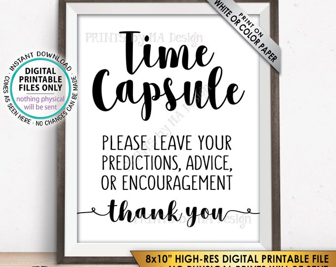 """Time Capsule, Wedding Guest Book Alternative, Predictions, Wishes, Baby Shower Time Capsule Sign, Bridal Shower, 8x10"""" Printable Sign <ID>"""
