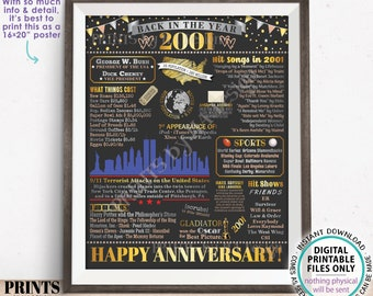 """Back in the Year 2001 Anniversary Sign, 2001 Anniversary Party Decoration, Gift, Custom PRINTABLE 16x20"""" Flashback to 2001 Poster Board"""