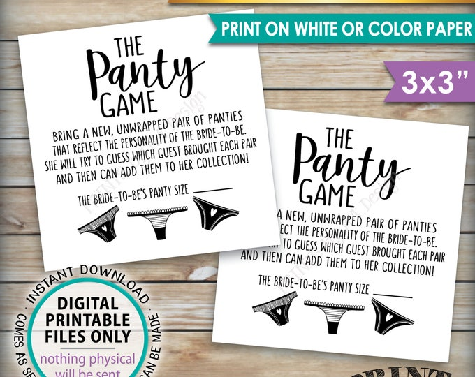 "Panty Game Cards, Guess the Panties Bachelorette Party Game, Bridal Shower Game, Panties Game PRINTABLE 3x3"" Cards on 8.5x11"" sheet <ID>"