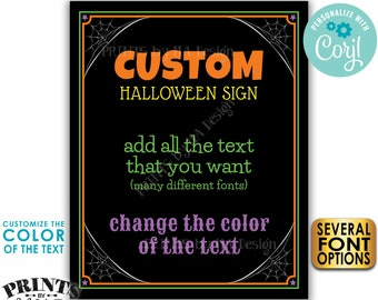 "Custom Halloween Sign, Choose Your Text, One PRINTABLE 8x10/16x20"" Portrait Halloween Party Sign <Edit Yourself with Corjl>"