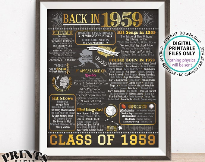 """Back in 1959 Poster Board, Class of 1959 Reunion Decoration, Flashback to 1959 Graduating Class, PRINTABLE 16x20"""" Sign <ID>"""