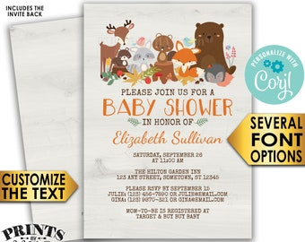 "Woodland Animals Baby Shower Invitation, Forest Friends Fox Deer Bear Beaver, Custom PRINTABLE 5x7"" Digital File <Edit Yourself with Corjl>"