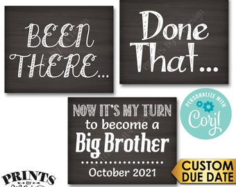 4th Baby Pregnancy Announcement, Been There Done That Now It's My Turn to Become a Big BROTHER, PRINTABLE Signs <Edit Yourself with Corjl>