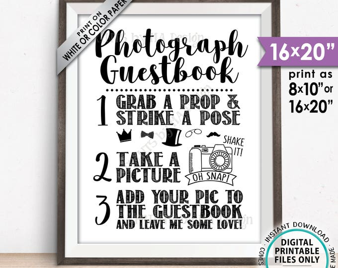 "Photograph Guestbook Sign, Add Your Picture to Guest Book Sign, Photo Guestbook, Leave Me Some Love, PRINTABLE 8x10/16x20"" Instant Download"