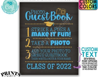 """Graduation Photo Guestbook Sign, Graduation Party Decoration, PRINTABLE 8x10/16x20"""" Chalkboard Style Sign <Edit Yourself with Corjl>"""