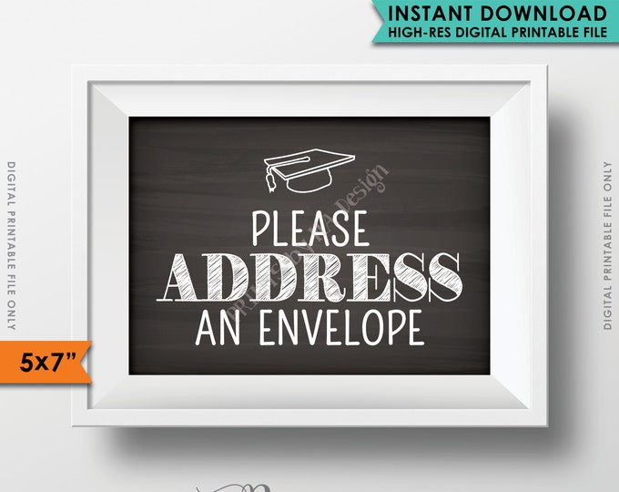"Address Envelope Sign, Address Your Own Envelope, Grad Thank You Card Envelope, PRINTABLE 5x7"" Chalkboard Style Graduation Party Sign <ID>"