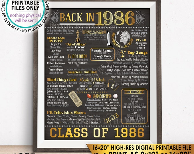 """Class of 1986 Reunion, Flashback to 1986 Poster, Back in 1986 Graduating Class Decoration, PRINTABLE 16x20"""" Sign <ID>"""
