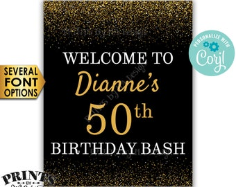 """Birthday Bash Sign, Welcome to the Birthday Party Decoration, PRINTABLE 8x10/16x20"""" Gold Glitter Sign <Edit Yourself with Corjl>"""