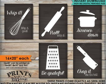 """Funny Kitchen Signs, Kitchen Decor Utensil Art, Whip It Grateful Roll Chop Simmer, Five 16x20"""" Chalkboard Style Printable Instant Downloads"""