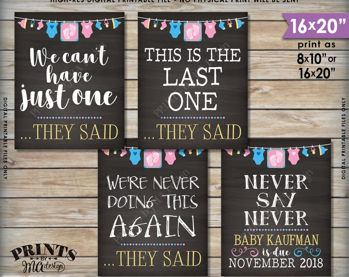 4th Baby Pregnancy Announcement Signs, Never Doing This Again This is Our Last One, Baby Four Pink & Blue Chalkboard Style PRINTABLE Signs
