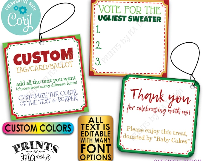 """Custom Christmas Tags, Voting Ballots, 2.5"""" Square Cards on a Digital PRINTABLE 8.5x11"""" File <Edit Yourself with Corjl>"""