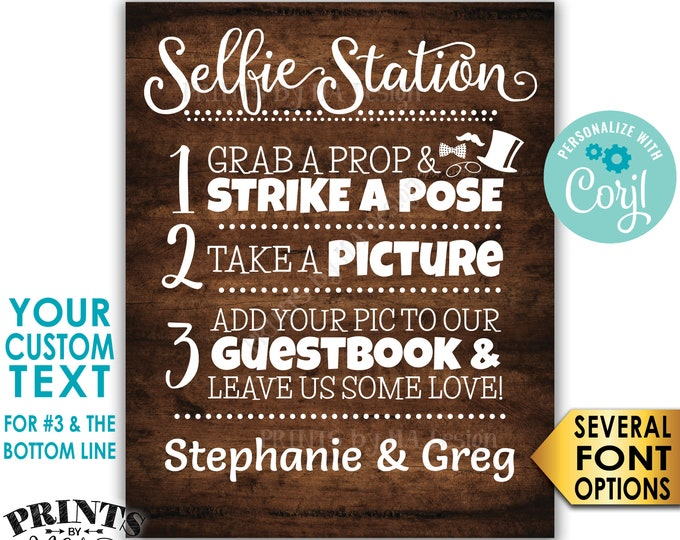 """Selfie Station Sign, Custom Step Number 3 and Bottom Line of Text, PRINTABLE 8x10/16x20"""" Rustic Wood Style Sign <Edit Yourself with Corjl>"""