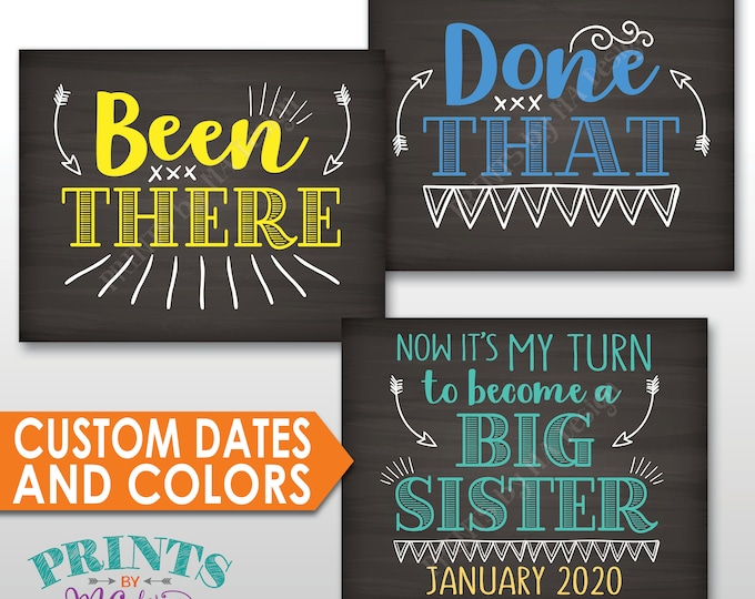 4th Baby Pregnancy Announcement, Been There, Done That, It's My Turn to Become a Big Sister, Custom Colors, PRINTBLE Chalkboard Style Signs