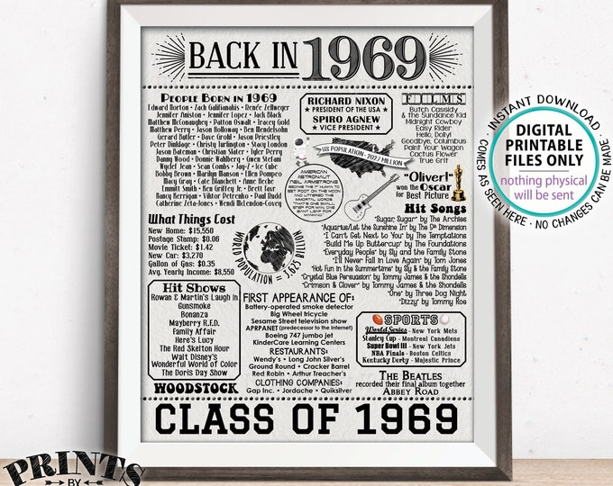 """Back in 1969 Sign, Class of 1969 Reunion Poster Board, Flashback to 1969 Graduating Class, PRINTABLE 16x20"""" Textured Paper Style Sign <ID>"""