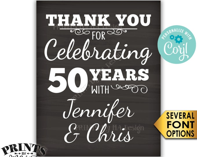 """Anniversary Party Sign, Thank You for Celebrating, Chalkboard Style PRINTABLE 16x20"""" Anniversary Party Decoration <Edit Yourself with Corjl>"""