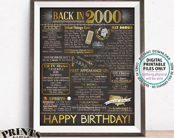 "Back in 2000 Birthday Poster Board, Flashback to 2000 Birthday Decoration, '00 B-day Gift, PRINTABLE 16x20"" Sign <ID>"