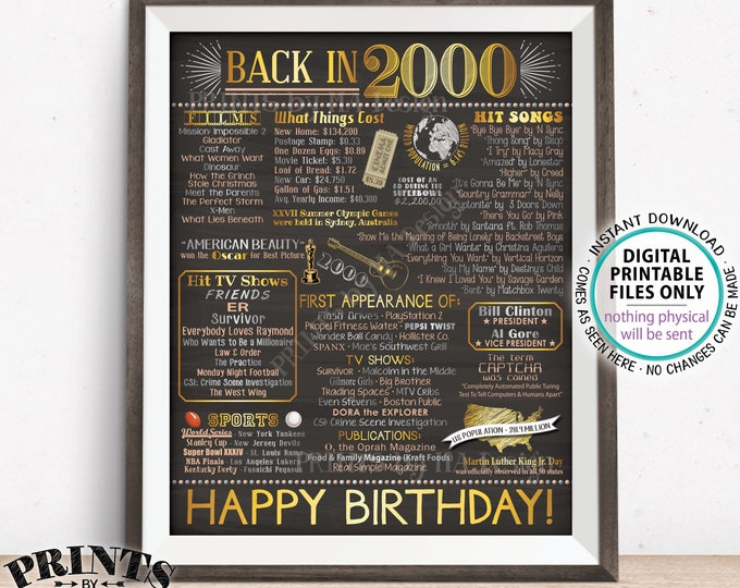 """Back in 2000 Birthday Poster Board, Flashback to 2000 Birthday Decoration, '00 B-day Gift, PRINTABLE 16x20"""" Sign <ID>"""