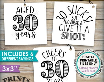 """30th Birthday Party Signs, Alcohol Themed 30th B-day, Aged to Perfection Take a Shot, PRINTABLE Square 3x3"""" tags on 8.5x11"""" Instant Download"""