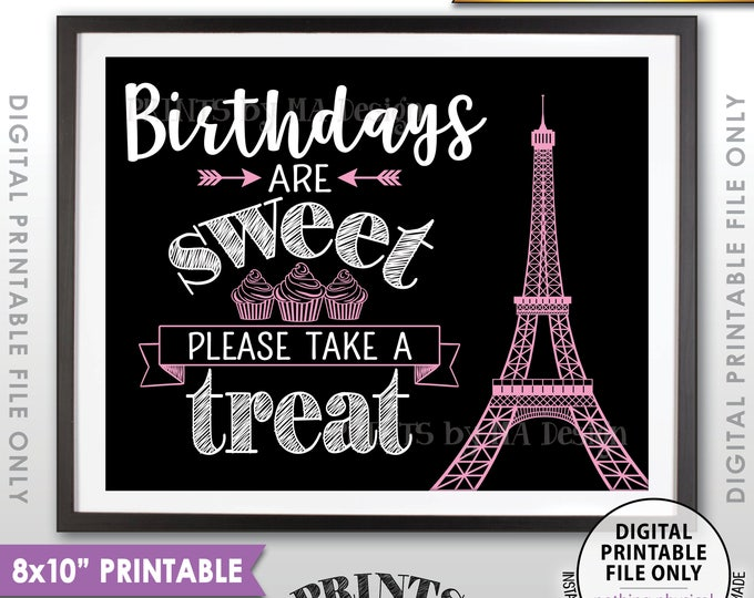 "Birthdays are Sweet Please Take a Treat, Paris Theme Eiffel Tower Cupcakes, Paris Birthday Black & Pink PRINTABLE 8x10"" Instant Download"