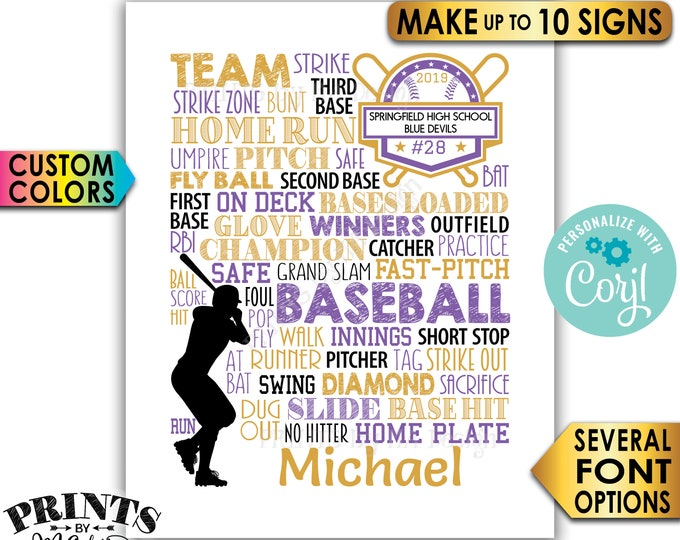 "Personalized Baseball Signs, Baseball Team Gifts, Baseball Seniors Graduation Party, Ten PRINTABLE 8x10"" Signs <Edit Yourself with Corjl>"