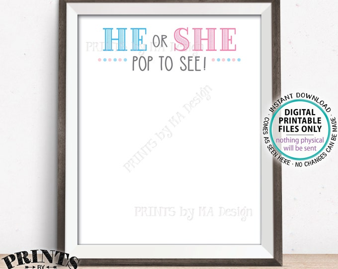 "Gender Reveal Balloon Dart Board, He or She Pop to See, PRINTABLE 16x20"" Gender Reveal Party Sign <ID>"