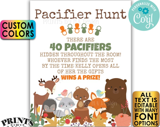 """Baby Shower Pacifier Hunt Game Sign, Pacifier Scavenger Hunt, Custom PRINTABLE 8x10/16x20"""" Sign <Edit Yourself w/Corjl>"""