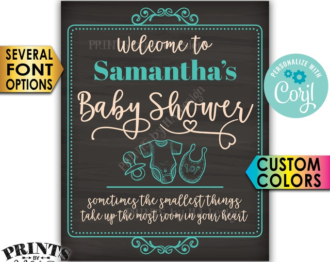 "Baby Shower Welcome Sign, Custom PRINTABLE 8x10/16x20"" Chalkboard Style Baby Shower Entrance Sign <Edit Yourself with Corjl>"