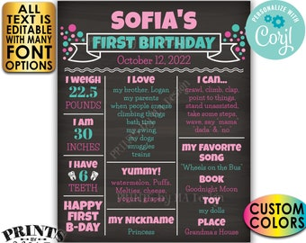 First Birthday Poster, 1st Bday Personalized Milestones Board, Custom PRINTABLE Chalkboard Style Sign, Yearly Stats <Edit Yourself w/Corjl>