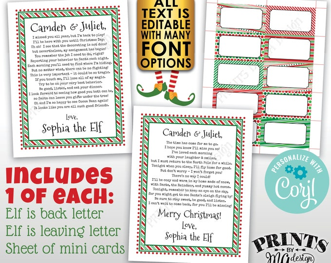 Christmas Elf Bundle Pack, Welcome Back Letter, Leaving, Place Cards, Three Custom Editable PRINTABLE Digital Files <Edit Yourself w/Corjl>