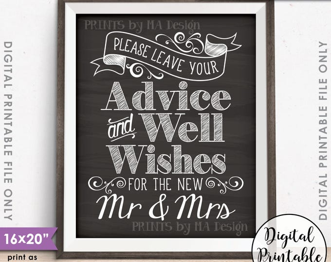 """Advice and Well Wishes, Leave your Advice and Well Wishes for the New Mr & Mrs, PRINTABLE 8x10/16x20"""" Chalkboard Style Instant Download"""
