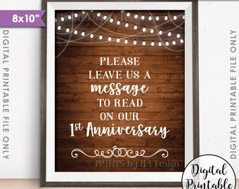 """Please Leave Us a Message to Read on Our First Anniversary Wedding Sign, 1st Anniversary, 8x10"""" Rustic Wood Style Printable Instant Download"""