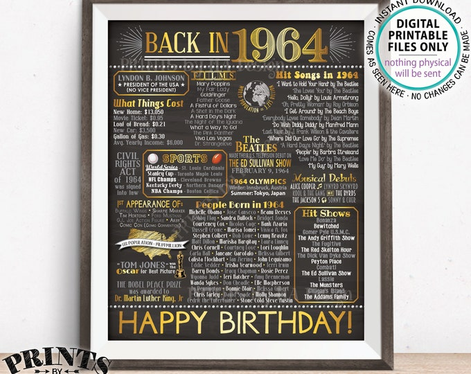 """1964 Poster Flashback 54 Years Ago Back in 1964, Born in 1964 Birthday Gift, Gold, PRINTABLE 16x20"""" B-day Sign <ID>"""