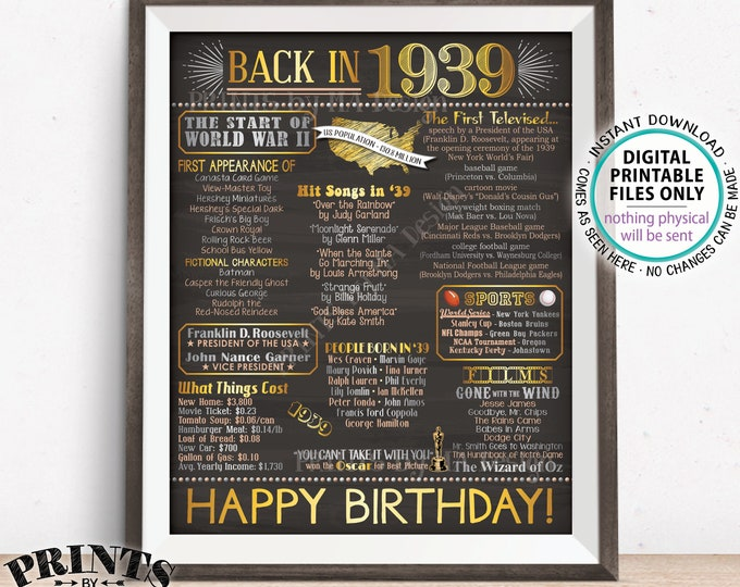 "1939 Birthday Flashback Poster, Back in 1939 Birthday Decorations, '39 B-day Gift, PRINTABLE 8x10/16x20"" Chalkboard Style B-day Sign <ID>"