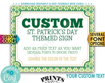 """Custom St. Patrick's Day Sign, St Paddys Day Celebration, Choose Your Text, PRINTABLE 8x10/16x20"""" Landscape Sign <Edit Yourself with Corjl>"""