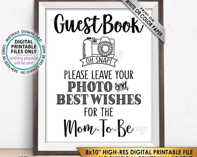 """Guestbook Sign, Leave Photo and Best Wishes for the Mom-To-Be, Baby Shower Sign, Baby Shower Decor, Selfie, PRINTABLE 8x10"""" Instant Download"""